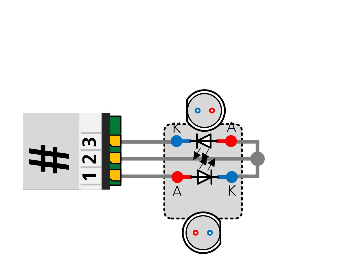ALAN ECOline Verbinder CON-06L Anschlussbild 2 LED ohne Vorwiderstand