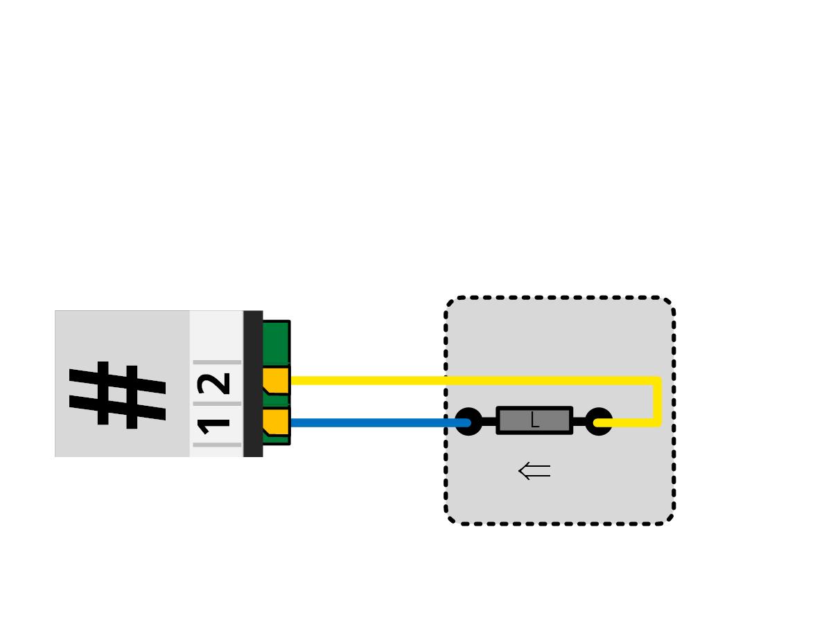 ALAN ECOline Verbinder CON-10L Anschlussbild Entkupplungsgleis oder Antrieb generell