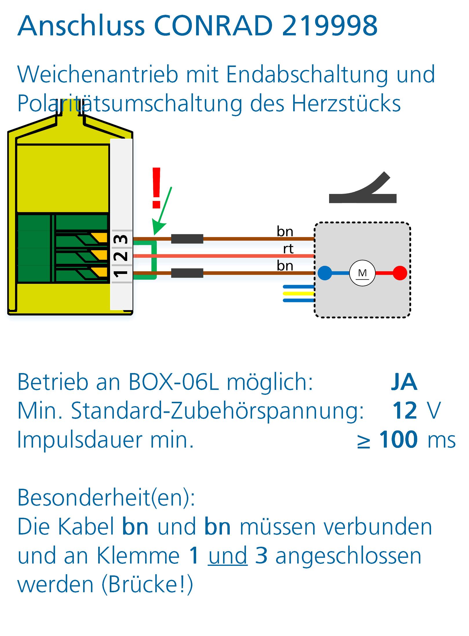 ALAN Adapter BRIDGE-03L Artikel-Nummer 18032 Anschlussbeispiel Conrad Weichenantrieb 219998