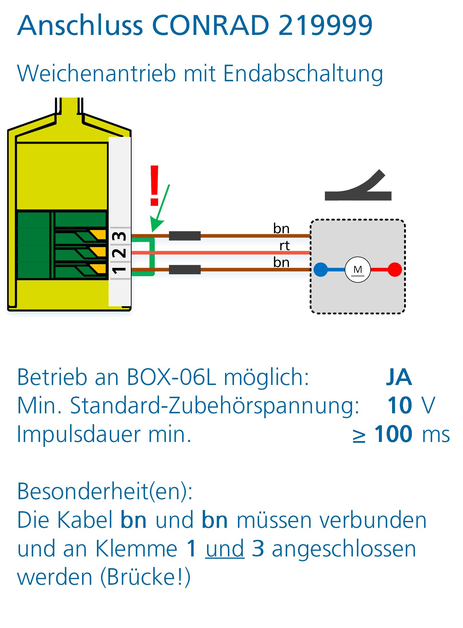 ALAN Adapter BRIDGE-03L Artikel-Nummer 18032 Anschlussbeispiel Conrad Weichenantrieb 219999