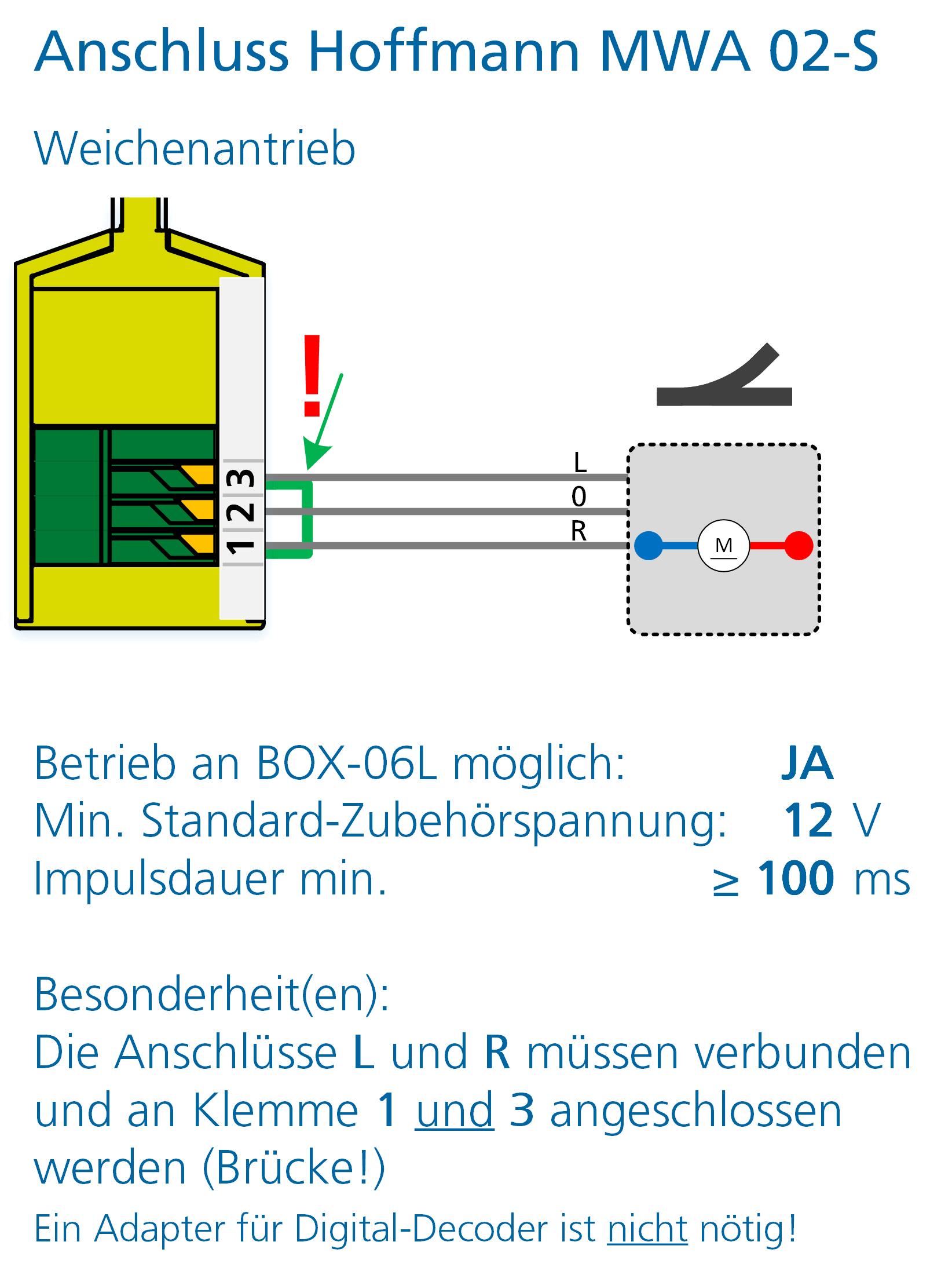 ALAN Adapter BRIDGE-03L Artikel-Nummer 18032 Anschlussbeispiel Hoffmann Weichenantrieb