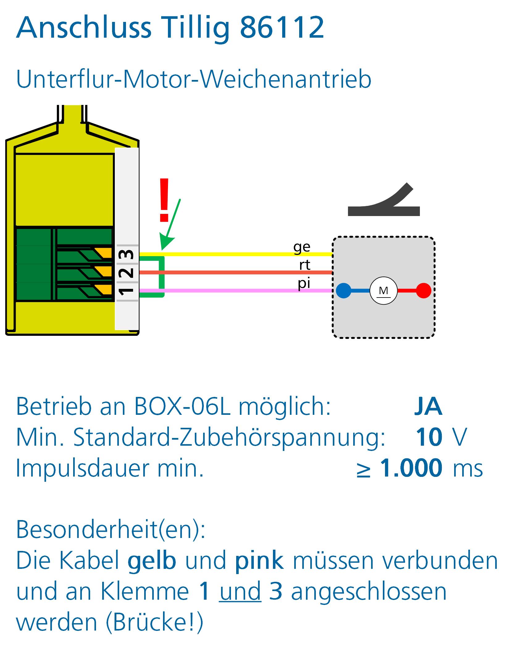 ALAN Adapter BRIDGE-03L Artikel-Nummer 18032 Anschlussbeispiel Tillig Weichenantrieb