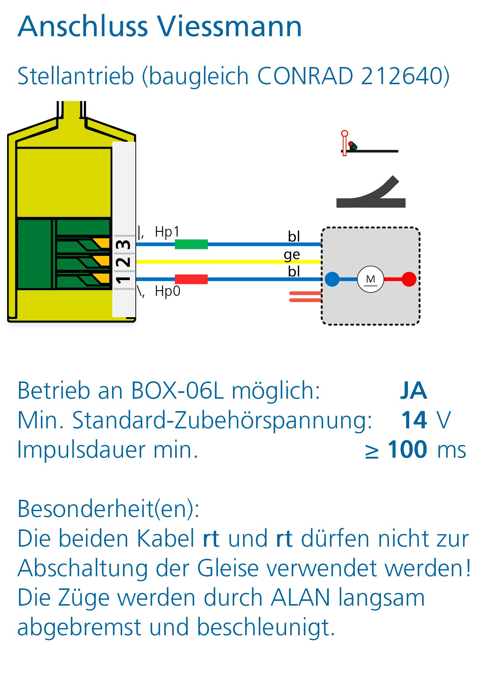 ALAN Adapter BRIDGE-03L Artikel-Nummer 18032 Anschlussbeispiel Viessmann Stellantrieb