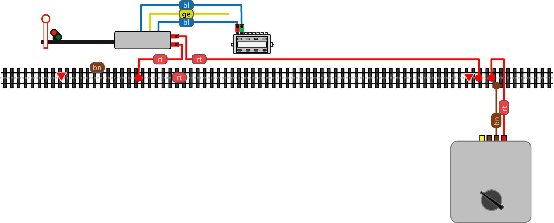 ALAN Beispiel Anschluss Signal-Bremsstrecke Wechselstrom ALT