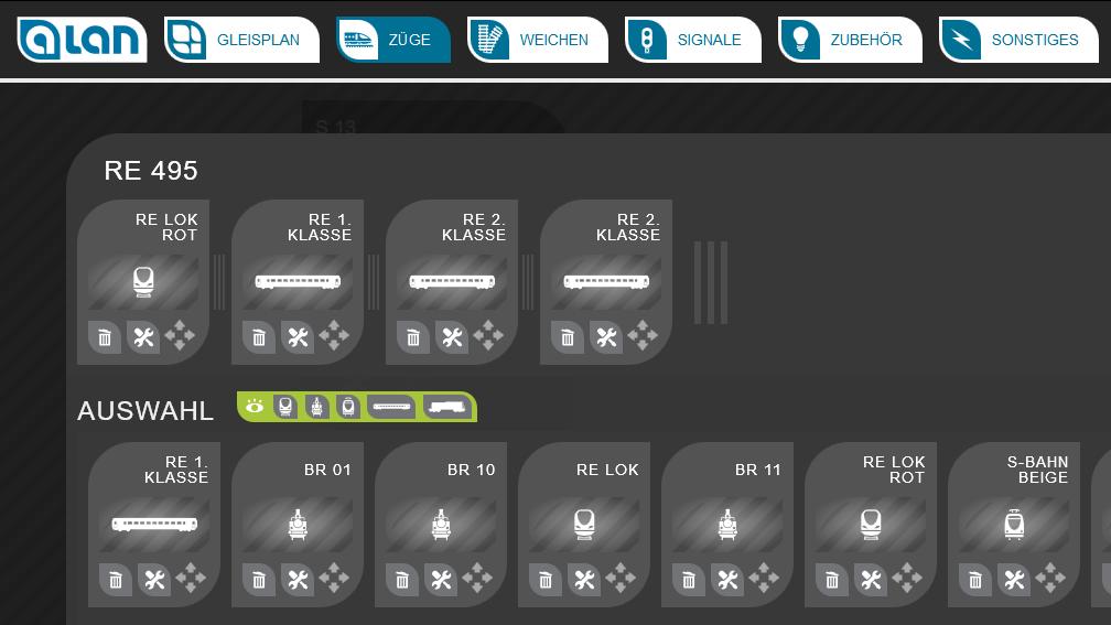ALAN Bildschirm-Ausschnitt: Konfiguration der Zugzusammenstellung per Drag&Drop