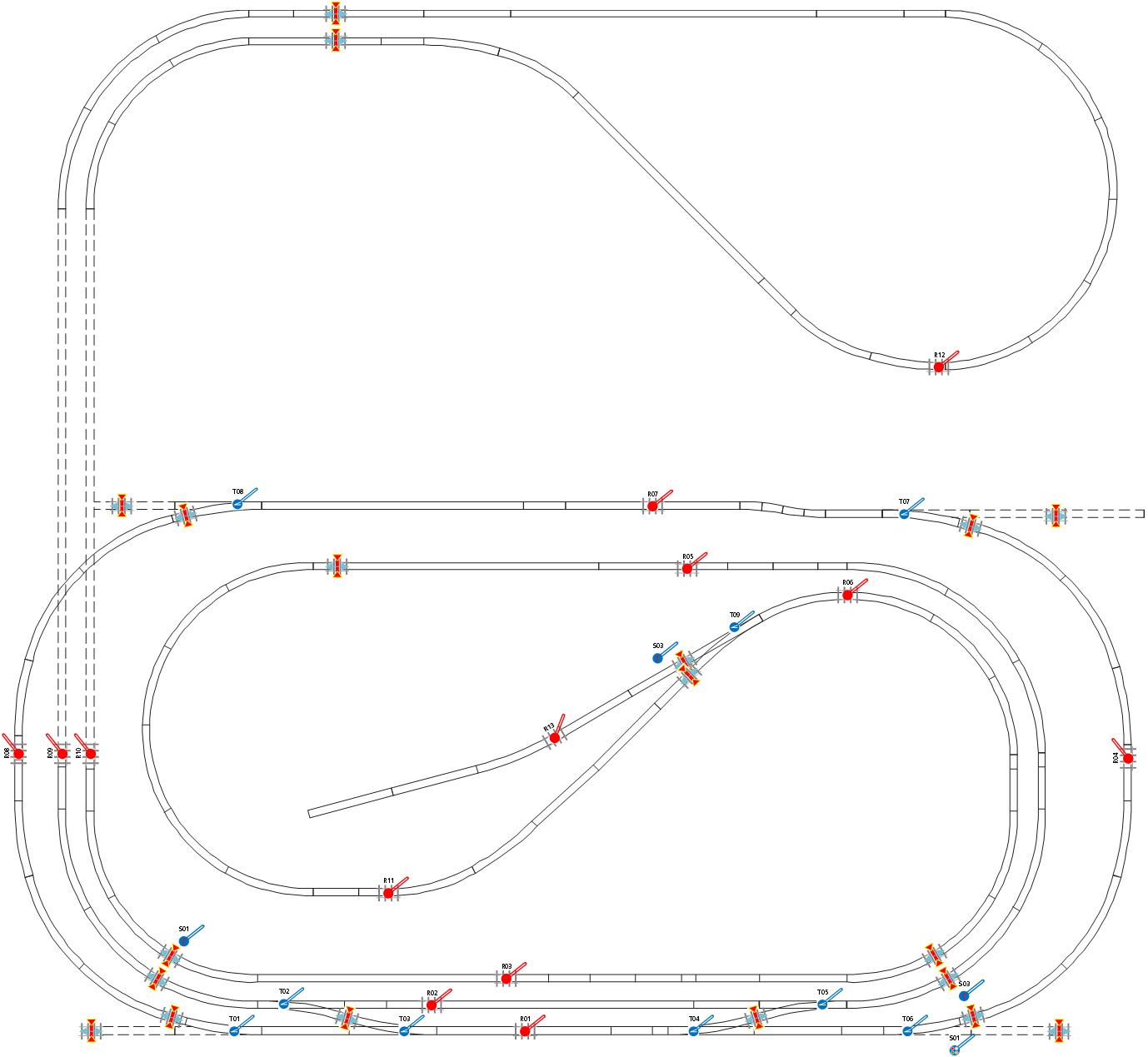 ALAN Praxis-Beispiel NOCH Fertiggelände Staufen (analog und digital): Gleisplan und Anschlüsse