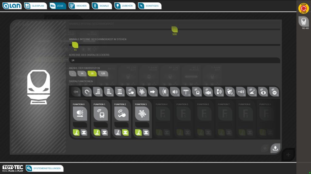 ALAN Bildschirm-Ausschnitt: Konfiguration Digital-Funktionen Dauer / Impuls